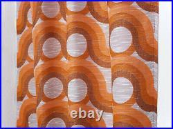 Vintage fabric curtains drapes orange Mid Century Pop Op Art retro 60's 70's