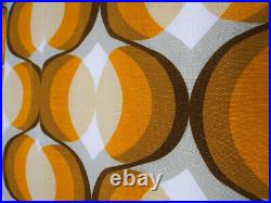 Vintage fabric curtains drapes orange brown Mid-Century Pop Art Modernist 70's
