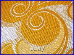 Vintage fabric curtains drapes yellow retro Mid-Century psychedelic paisley 70's