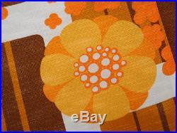 Vintage floral fabric curtains drapes orange flowers retro Mid-Century 70's