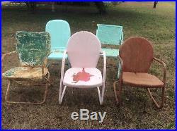 Vintage lot mid century original Metal Lawn Pool patio Chair Retro mcm retro