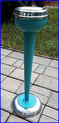Vintage metal smoke ashtray stand teal chrome Mid-Century Atomic retro