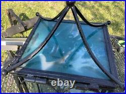 Vintage mid century modern retro Wrought Iron & Glass Footed box Terrarium black