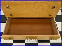 Vintage mid century oak finish five drawer dressing chest of drawers Delivery