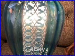 Vintage mid century retro Blue Glass Globe Hanging Swag Lamp Light with Diffuser
