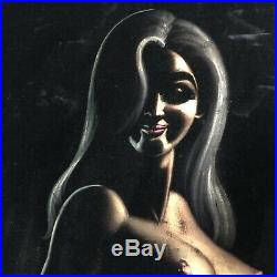Vintage nude woman black velvet painting mid century girl pinup signed retro