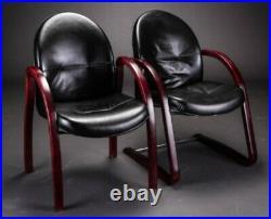 Vintage retro Danish Mid Century armchair black leather bentwood lounge chair