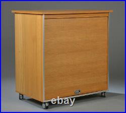 Vintage retro Danish Mid Century beech wood office tambour roller cabinet