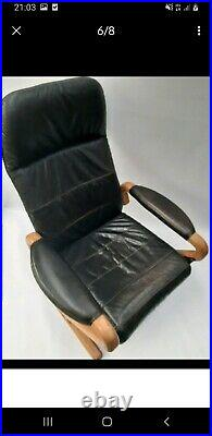 Vintage retro Danish design Mid Century Reclining Armchair black Leather chair