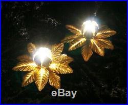 Vintage retro Hollywood Regency pair of ceiling lights lamps mid century