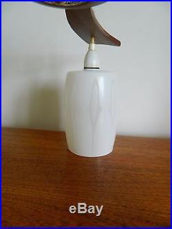 Vintage/retro MID Century 3 Arm Ceiling Light Fitting Metal/glass Teak
