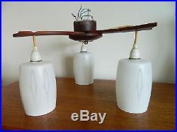 Vintage/retro MID Century 3 Arm Ceiling Light Fitting Metal/glass Teak #2