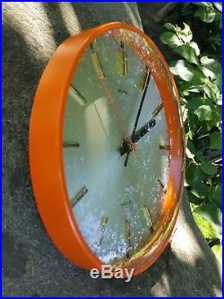 Vintage retro Metamec 1960-70's battery wall clock mid century orange convex