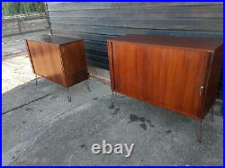Vintage retro Mid Century Danish rosewood sideboard TV cabinet hairpin tambour 1