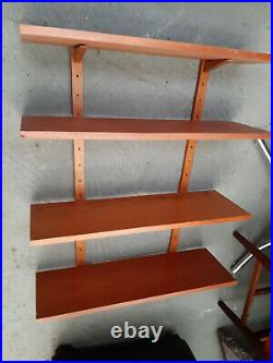 Vintage retro Mid Century Danish teak wooden wall hanging shelves ps system