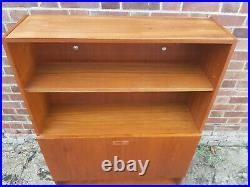 Vintage retro Mid Century teak wood 60s 70s Danish book case cabinet cupboard