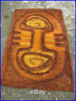 Vintage retro Mid century medium Rya/Danish/Atomic influence rug 100% wool