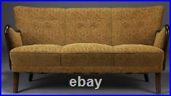 Vintage retro antique Danish mid century 2 3 seat sofa couch green 1940s wooden