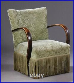 Vintage retro antique Danish mid century green velvet art deco chair armchair