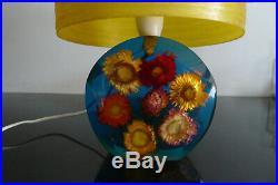 Vintage retro lucite resin lamp with spun fibreglass shade Mid century 50's 60's