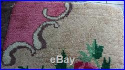 Vintage retro mid century 1950s handmade latch hook wool work carpet rug floral