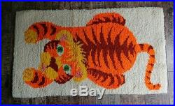 Vintage retro mid century TIGER ANIMAL original latch hook wool KIDS carpet rug