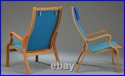 Vintage retro mid century bentwood Danish blue wool armchair lounge chair x 1