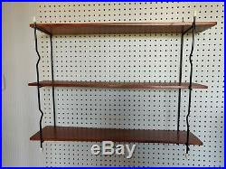 Vintage retro mid century string shelf shelving wire wooden shelf MCM