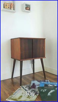 Vintage retro mid century teak vinyl LP record cabinet/storage stunning original