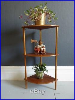 Vintage retro mid century teak whatnot corner shelf 1970s shelving plantstand