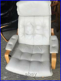Vintage retro mid century white leather Danish armchair lounge swivel chair x1