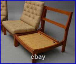 Vintage retro teak wooden Danish mid century lounge modular chair Armchair