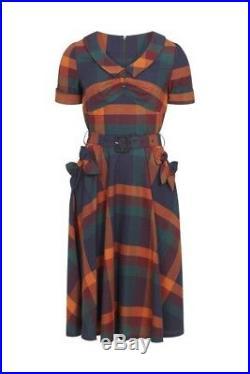 Voodoo Vixen Samantha Mid Century Vintage Flare Warm Plaid Pockets Dress S-XXL