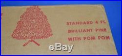 Vtg 1950s 60s Pom Pom 4' Silver Aluminum Christmas Tree Mid-Century Retro #2288
