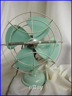 Vtg 1960s Mid Century Westinghouse Model A010-1 Mint Green Retro Desk Fan