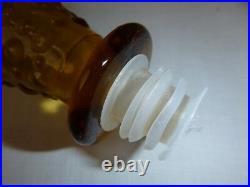 Vtg 60s Mid Century Italian Empoli Amber Bubble Glass Genie Bottle Decanter 22