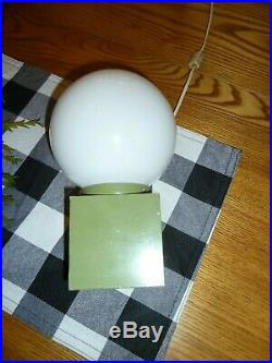 Vtg Avocado Green Table Lamp With Globe Mid-Century Modern 60's Retro WORKS 9