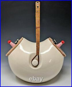 Vtg. C1958 LaGardo Tackett Double Header Ceramic Cookie Jar with Smiling Face Lids