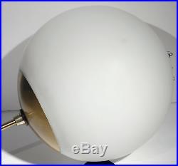 Vtg Ejs MID Century Modern Fixture Brass Lamp Matte Glass Globe Retro Pendant