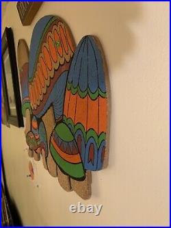 Vtg MCM 1960s Mushroom Die Cut Cork Message Note Tack Board Art Psychedelic