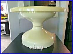 Vtg MCM Cream Beige Plastic Tulip Table Atomic Space Age Short Side Coffee End