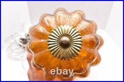 Vtg MCM Retro Hanging Swag Light/Lamp Amber Rootbeer Crackle Glass Mid Century