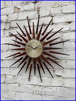 Vtg Mid Century 60's Seth Thomas Sunburst Starburst Teak Wall Clock Retro Atomic