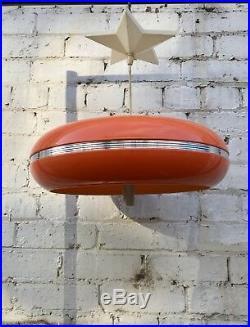Vtg Mid Century Atomic Spaceage UFO Orange Plastic Pendant Light 60's 70's Retro