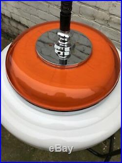 Vtg Mid Century Atomic Spaceage UFO Orange Plastic Pendant Light Retro 60s 70s