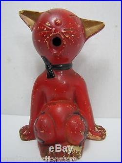 Vtg Mid Century Cat Incense Burner detailed kitty big belly mouth Retro Japan