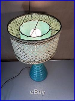 Vtg Mid Century Ceramic Blue Beehive Lamp 19 Tall Double Shade Fiberglass Retro