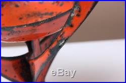 Vtg. Mid Century Groovy Retro Enamel Lava Glaze Steel Candle Orange Hanova