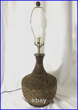 Vtg Mid Century Modern Cork & Teak Wood Table Lamp Retro 1960s 1970s 3-way Light