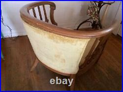 Vtg Mid Century Modern Retro Barrel Pair carved wood lounge arm Chairs mcm